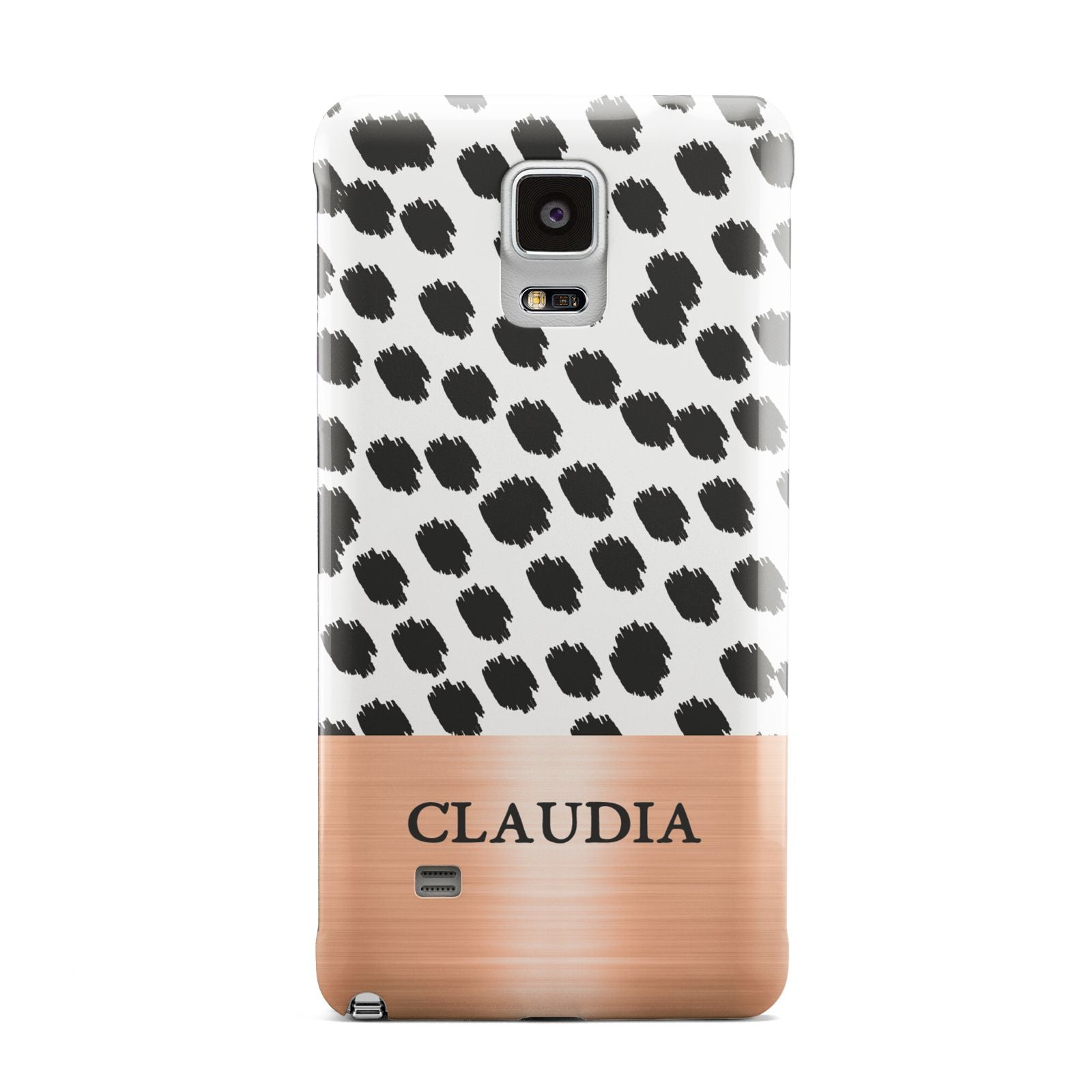 Personalised Animal Print Rose Gold Name Samsung Galaxy Note 4 Case