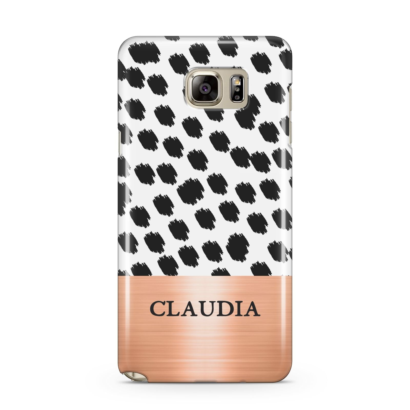 Personalised Animal Print Rose Gold Name Samsung Galaxy Note 5 Case