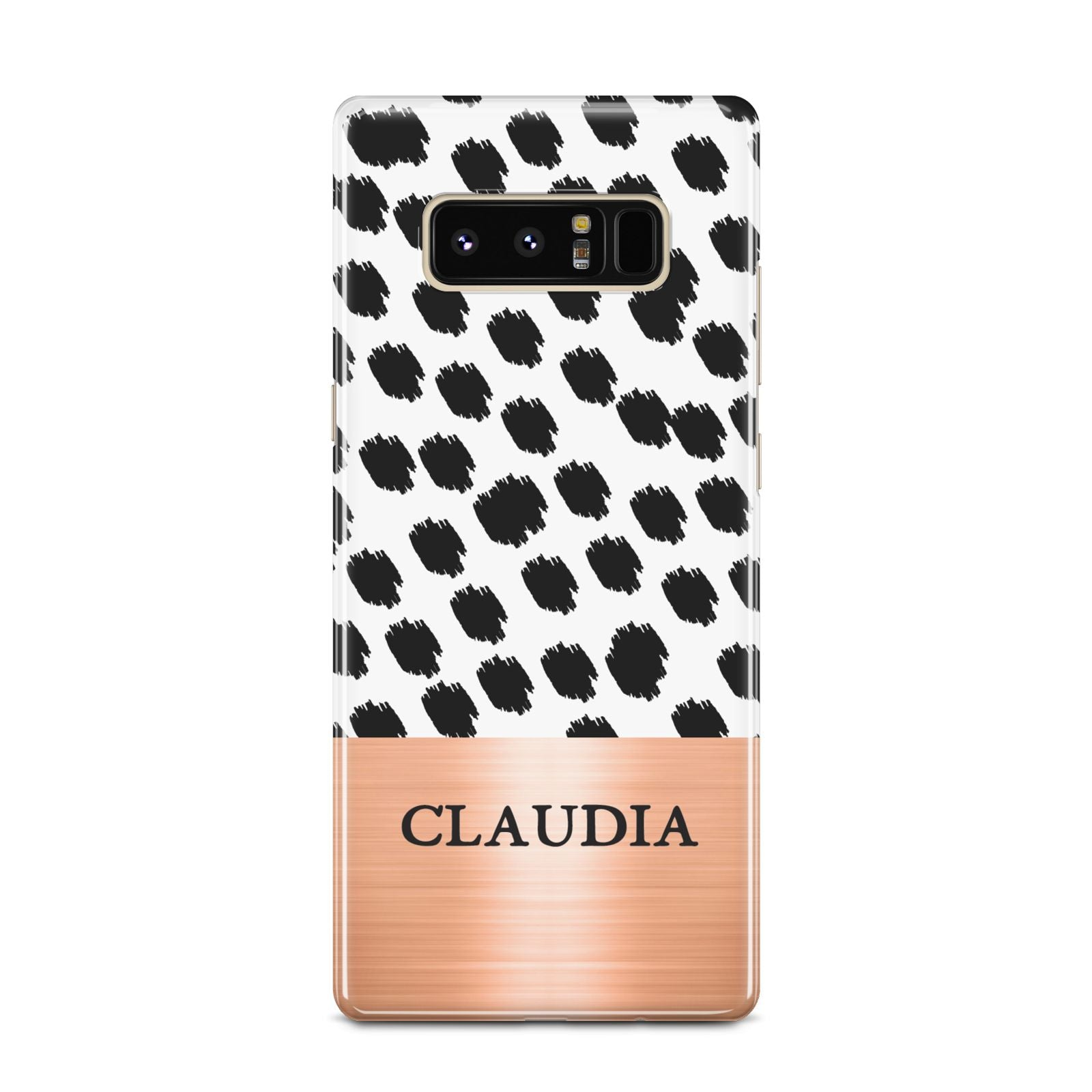 Personalised Animal Print Rose Gold Name Samsung Galaxy Note 8 Case