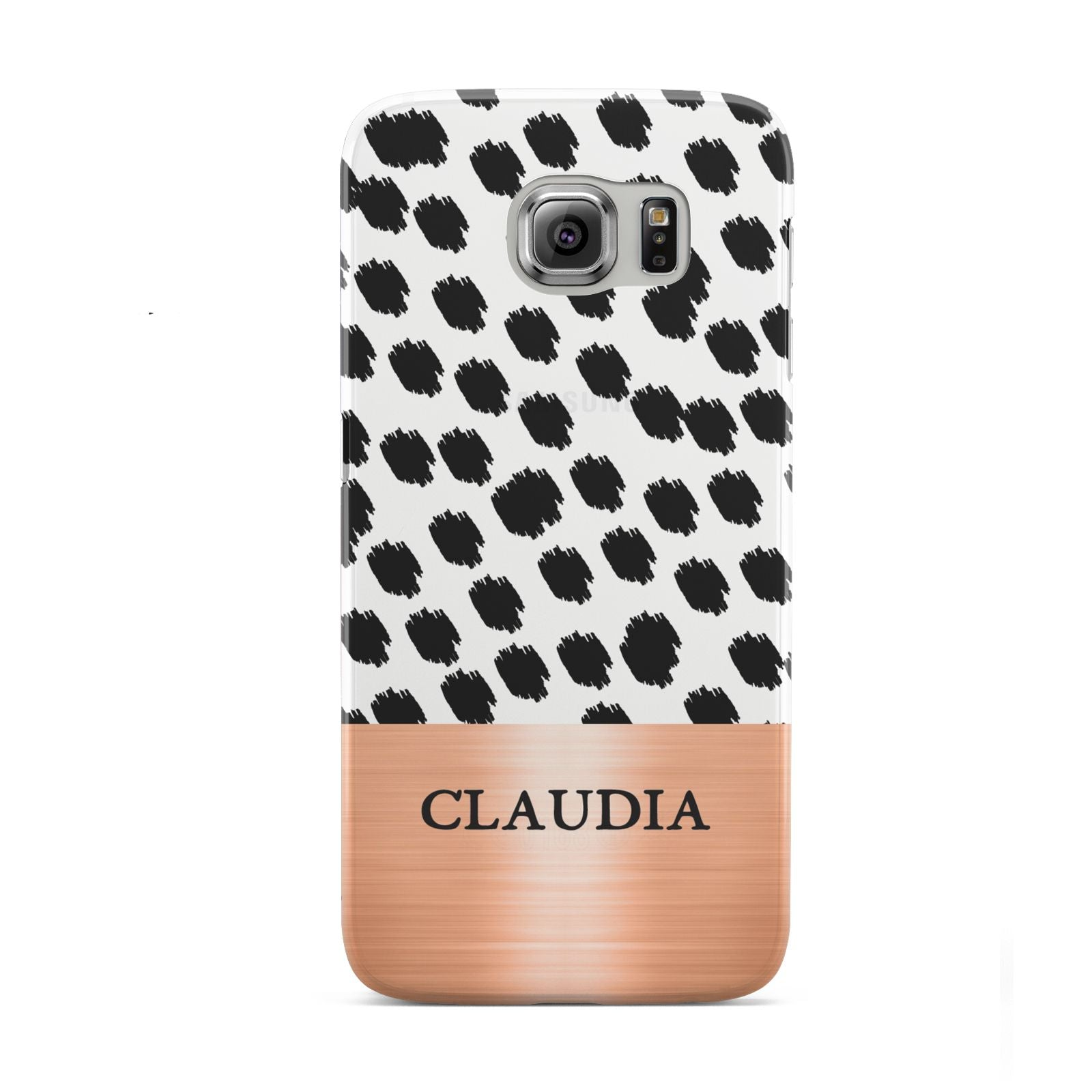 Personalised Animal Print Rose Gold Name Samsung Galaxy S6 Case