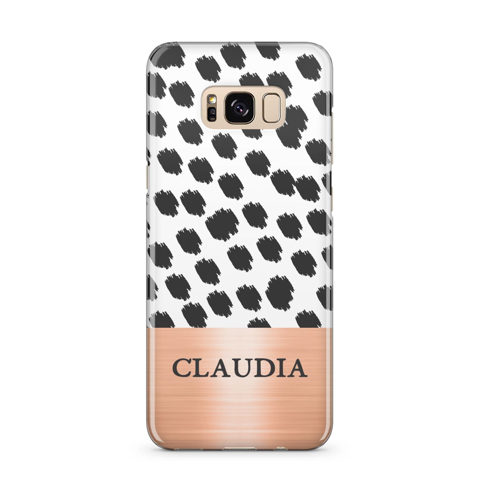 Personalised Animal Print Rose Gold Name Samsung Galaxy S8 Plus Case