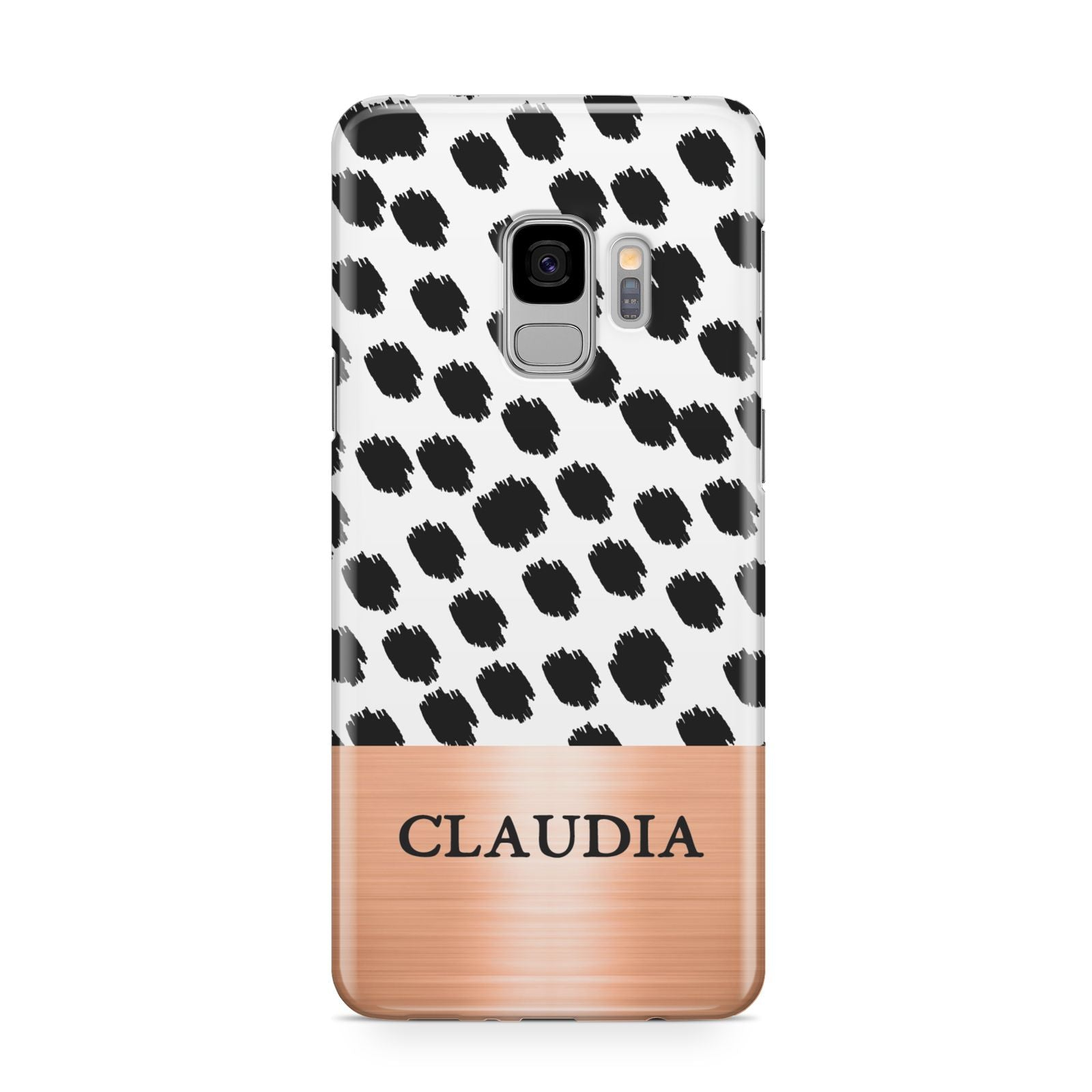 Personalised Animal Print Rose Gold Name Samsung Galaxy S9 Case