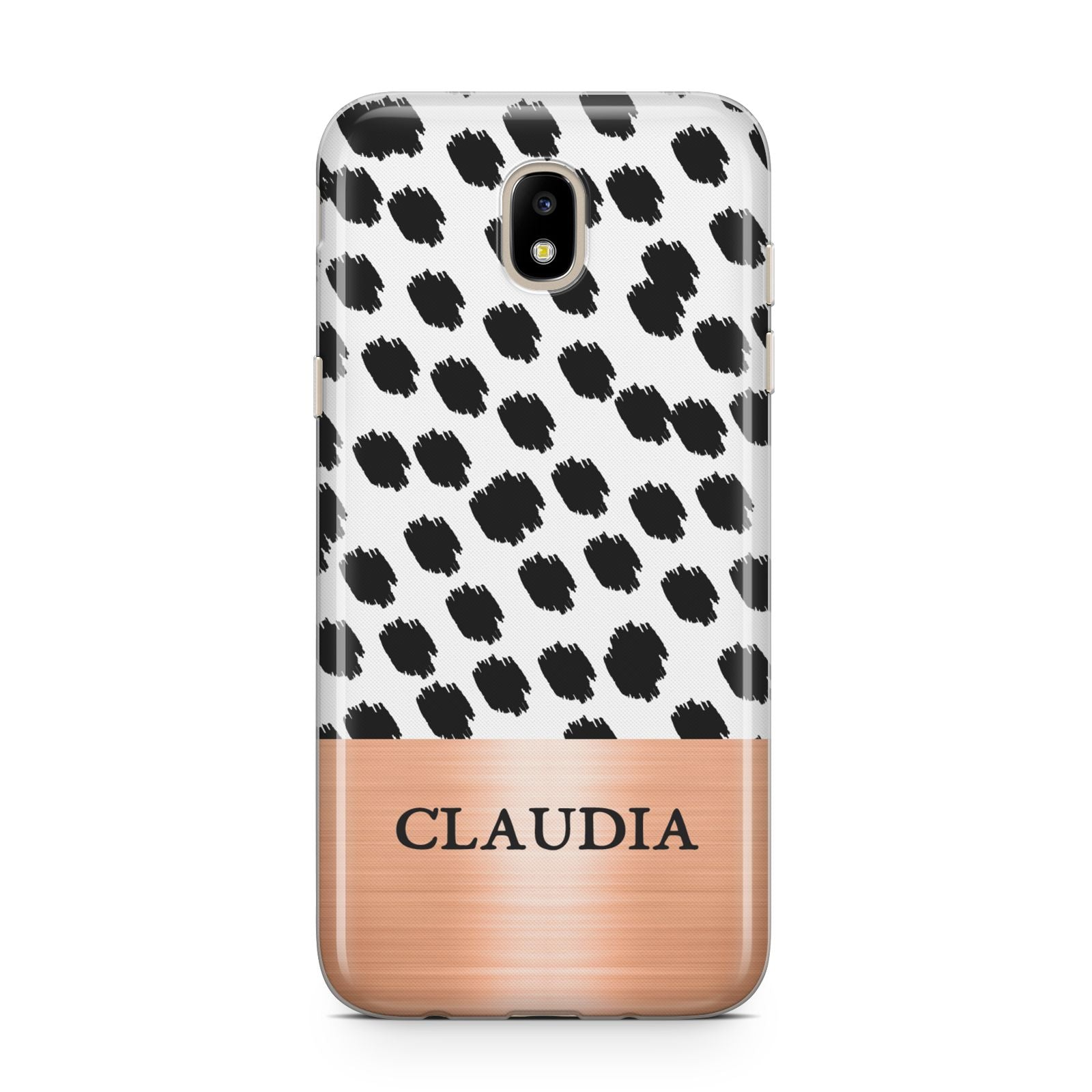 Personalised Animal Print Rose Gold Name Samsung J5 2017 Case