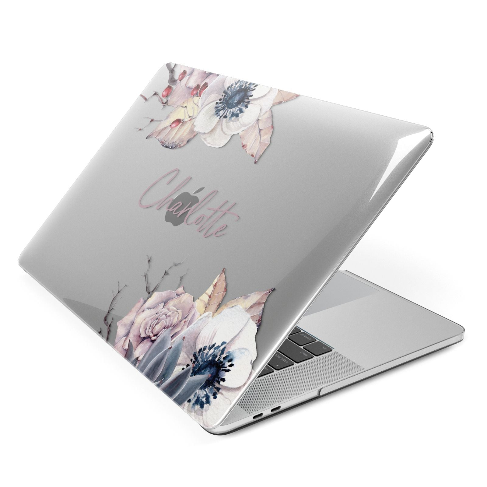 Personalised Autumn Floral Apple MacBook Case Side View