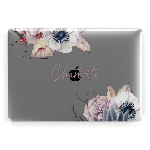 Personalised Autumn Floral Apple Macbook Case
