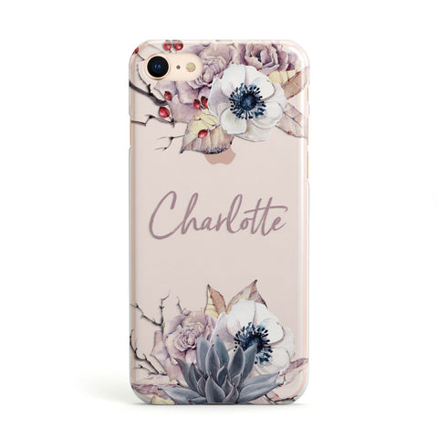 Personalised Autumn Floral Apple iPhone Case