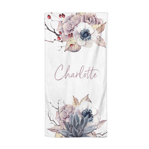 Personalised Autumn Floral Beach Towel
