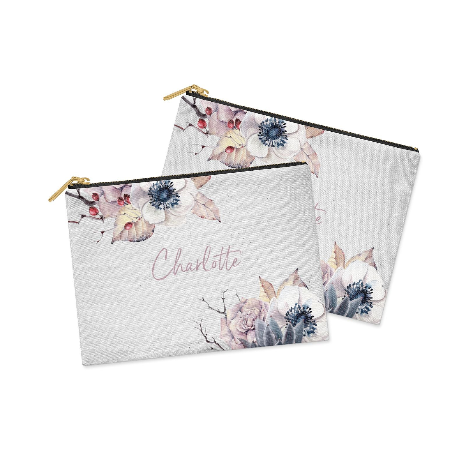 Personalised Autumn Floral Clutch Bag Zipper Pouch Alternative View