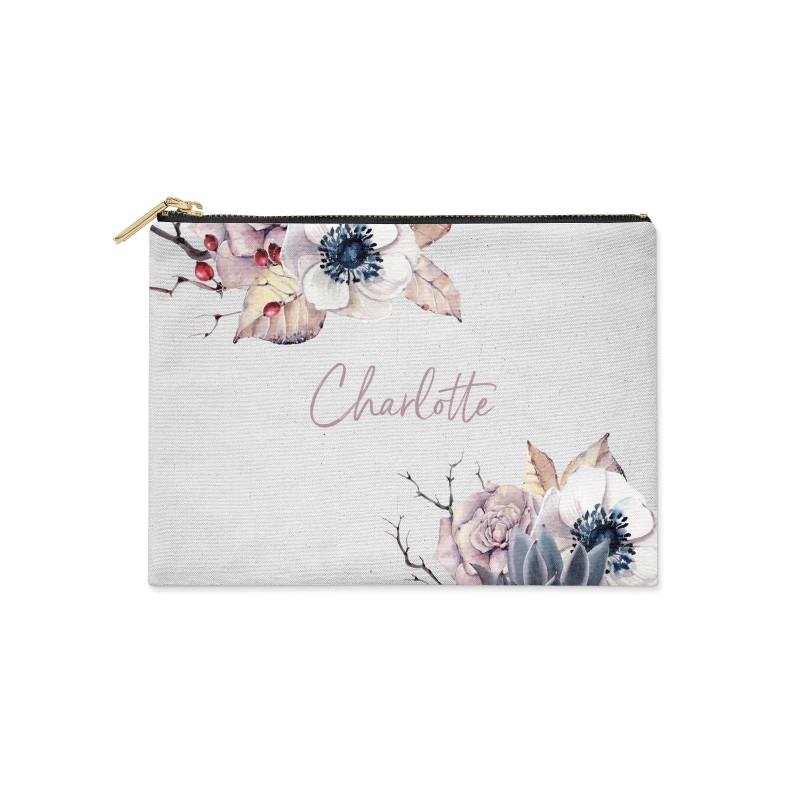 Personalised Autumn Floral Clutch Bag Zipper Pouch