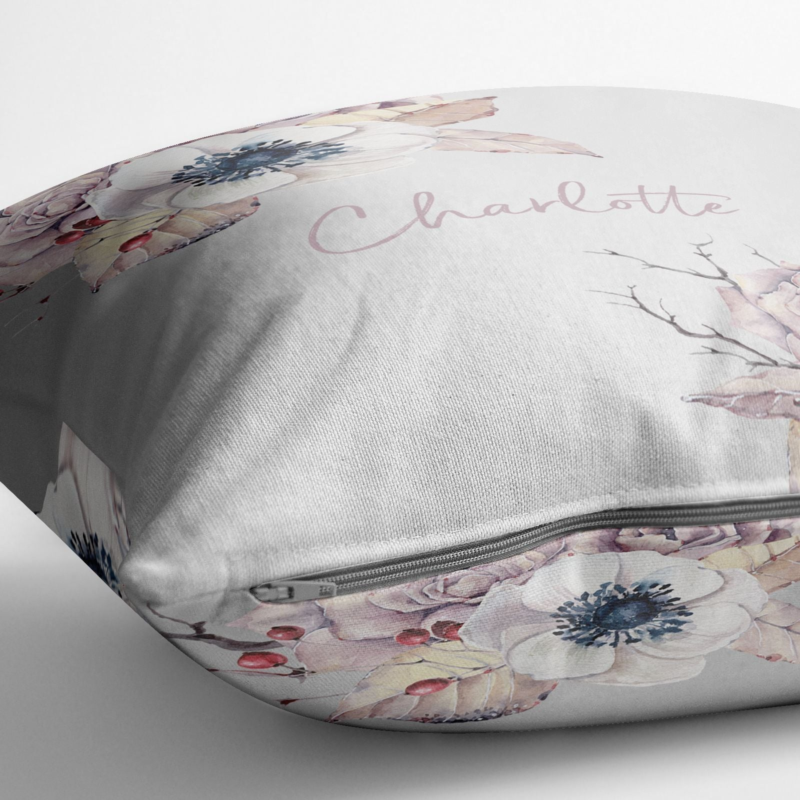 Personalised Autumn Floral Cotton Cushion Alternative Image