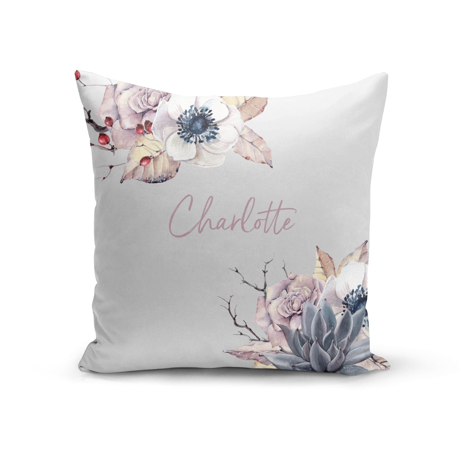 Personalised Autumn Floral Cotton Cushion