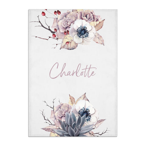 Personalised Autumn Floral Tea Towel