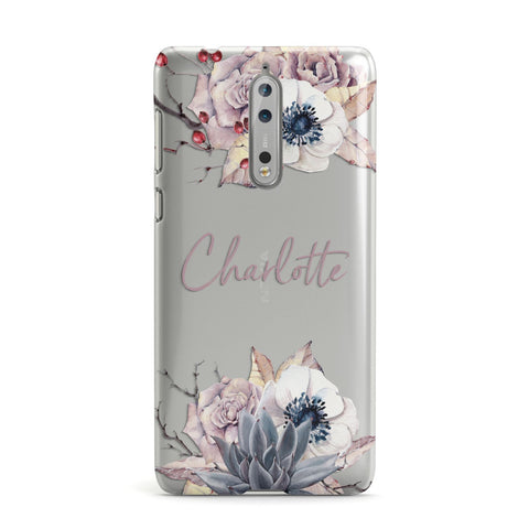Personalised Autumn Floral Nokia Case