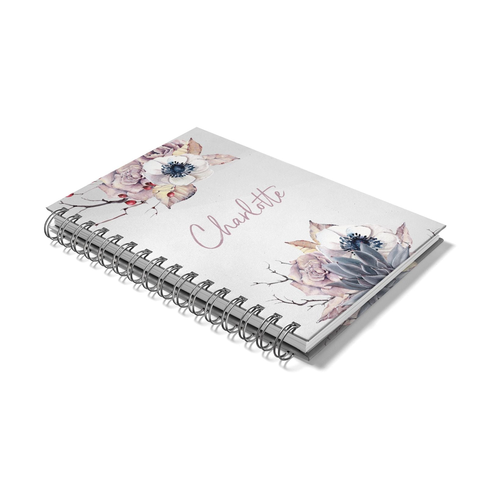 Personalised Autumn Floral Notebook with Silver Coil Laid Flat