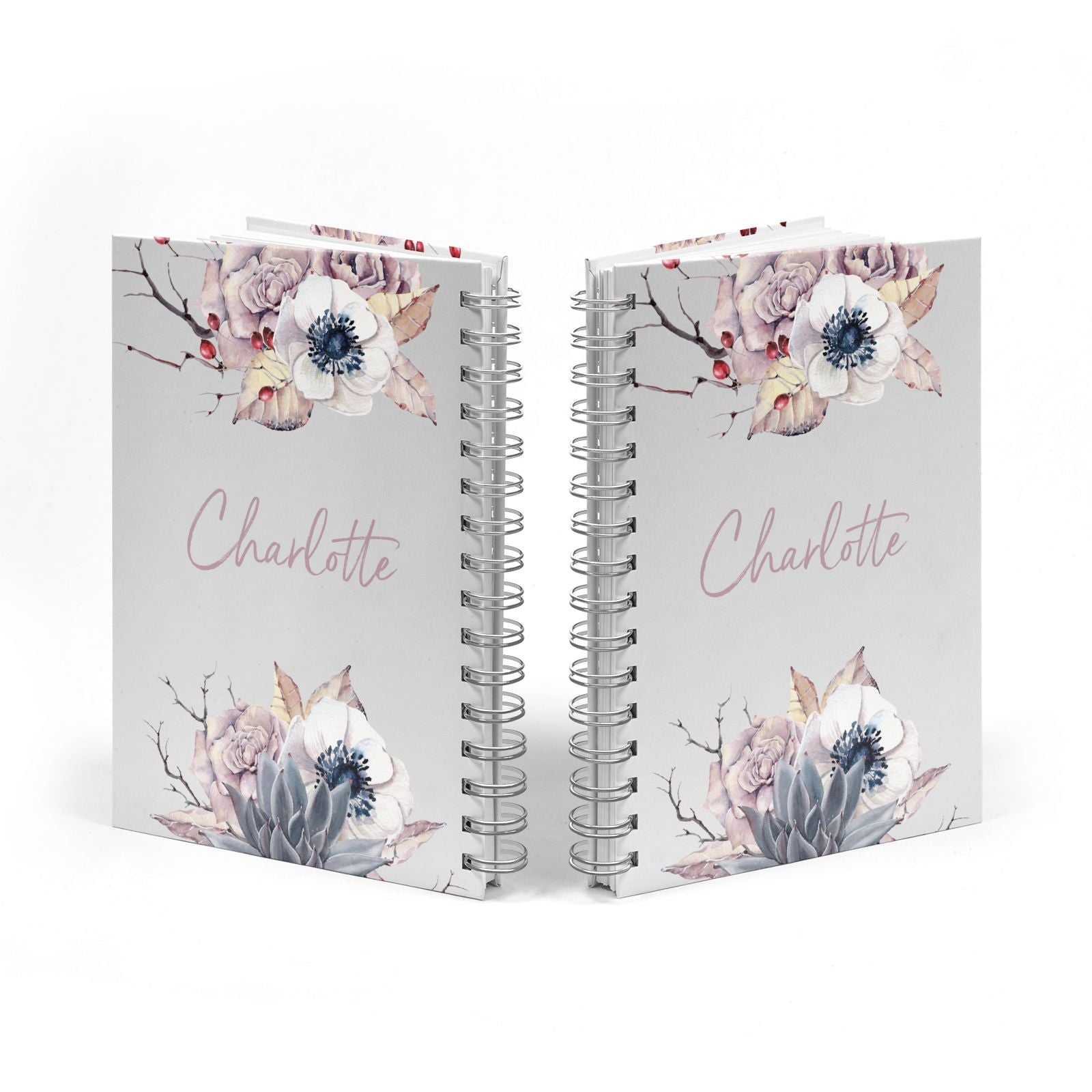 Personalised Autumn Floral Notebook with Silver Coil Spine View