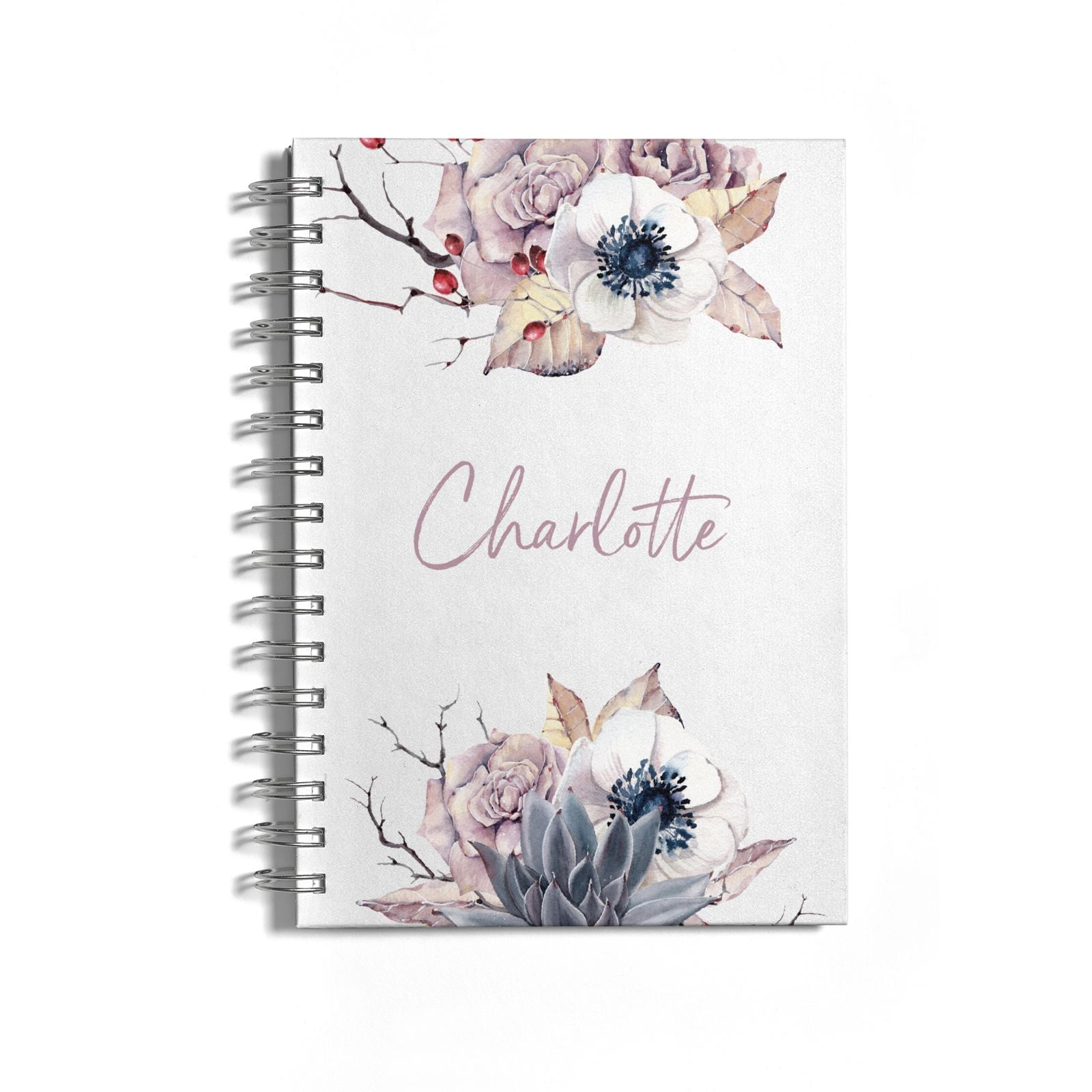 Personalised Autumn Floral Notebook with Silver Coil