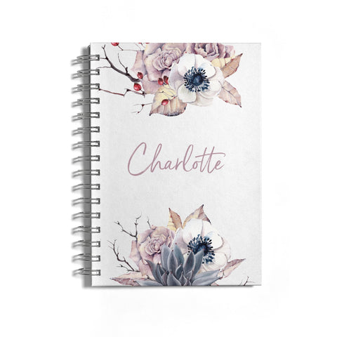 Personalised Autumn Floral Notebook