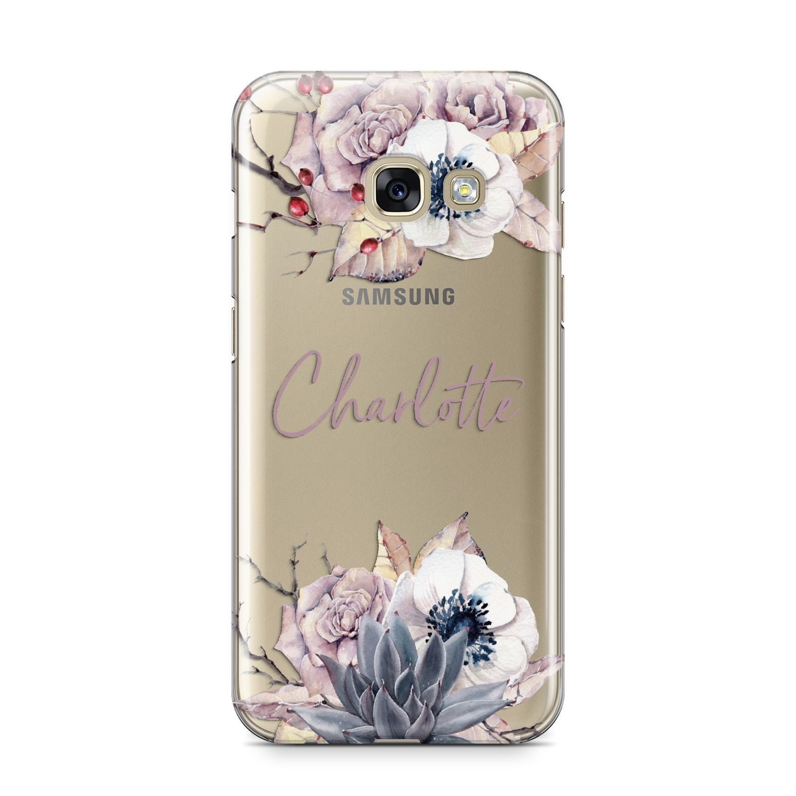 Personalised Autumn Floral Samsung Galaxy A3 2017 Case on gold phone