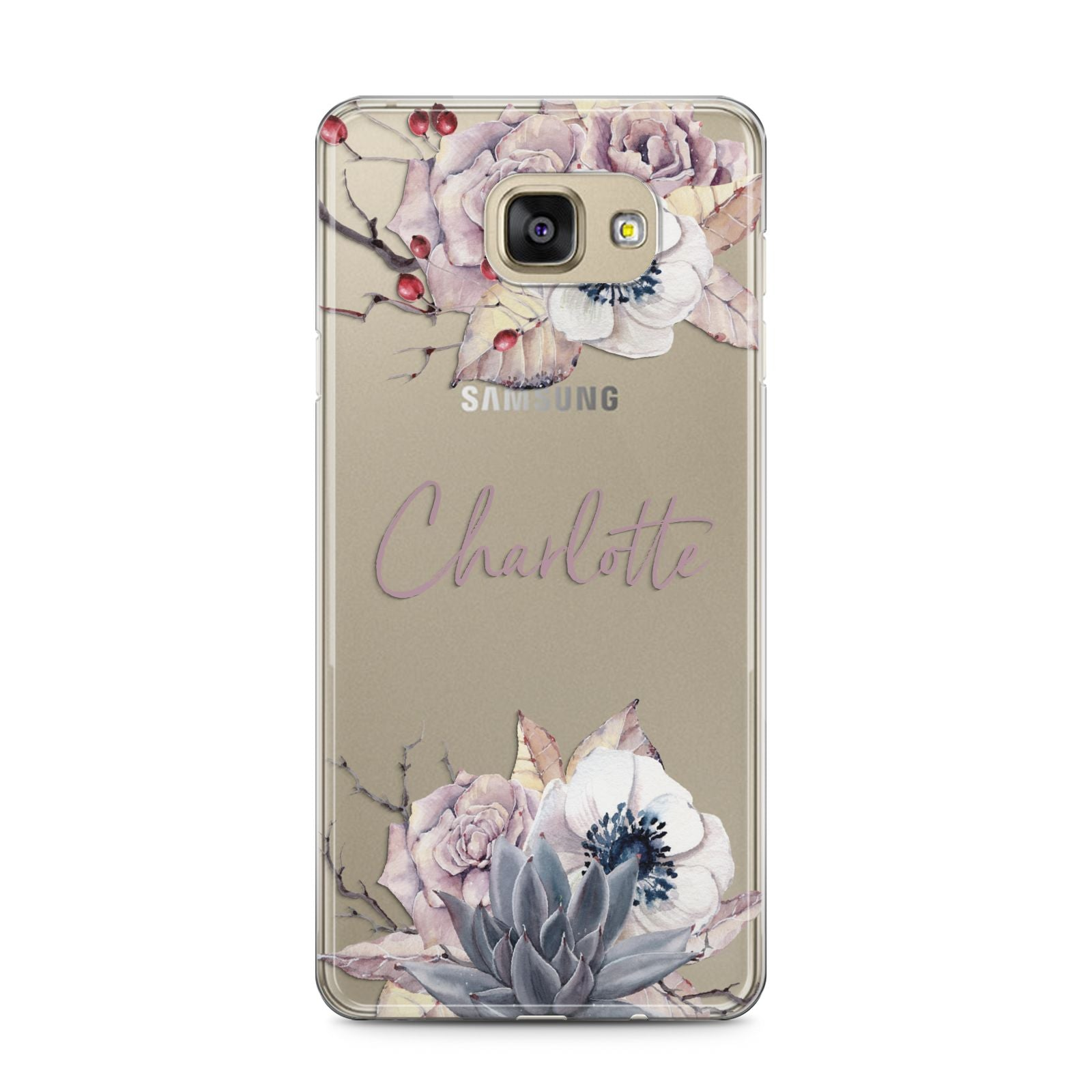 Personalised Autumn Floral Samsung Galaxy A5 2016 Case on gold phone
