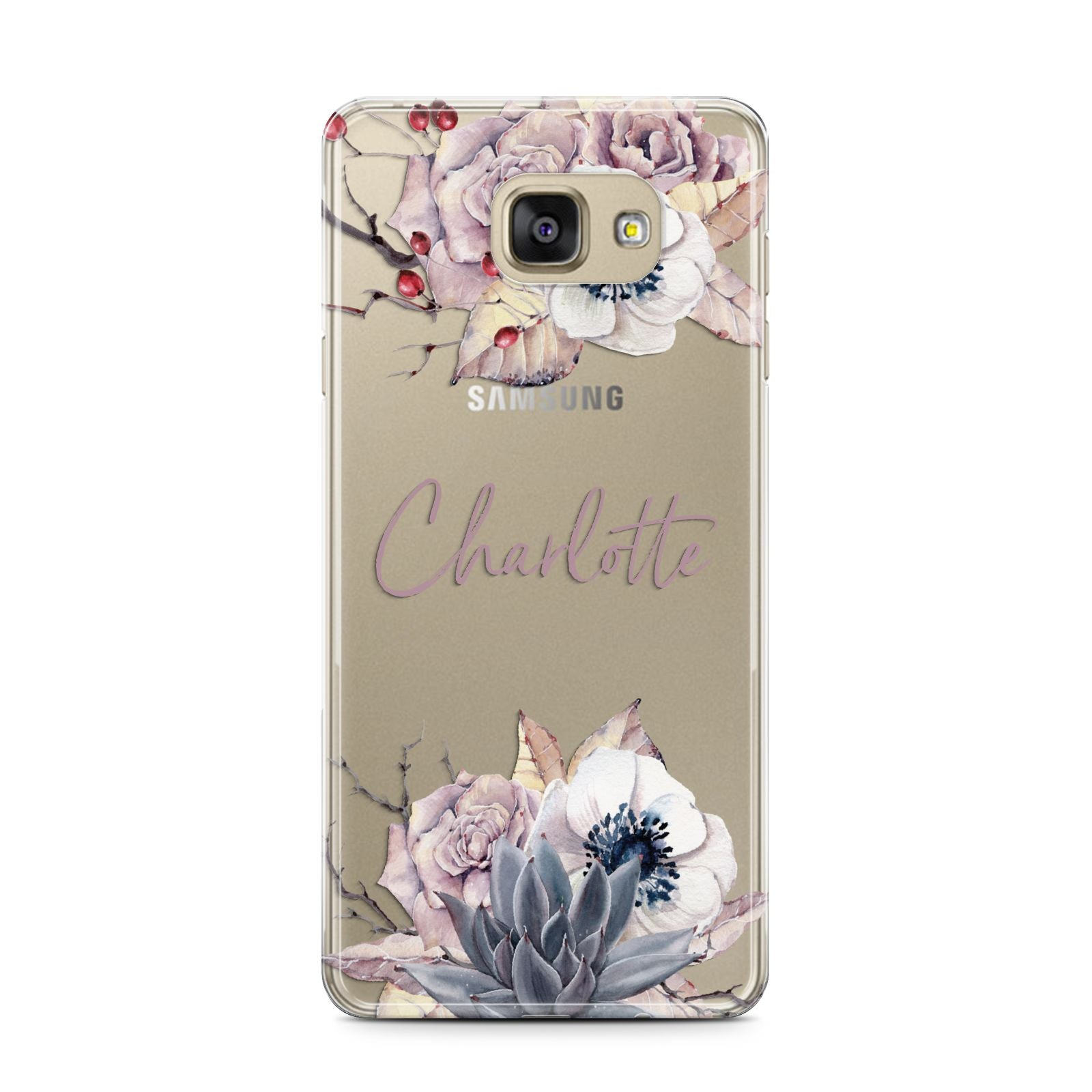 Personalised Autumn Floral Samsung Galaxy A7 2016 Case on gold phone