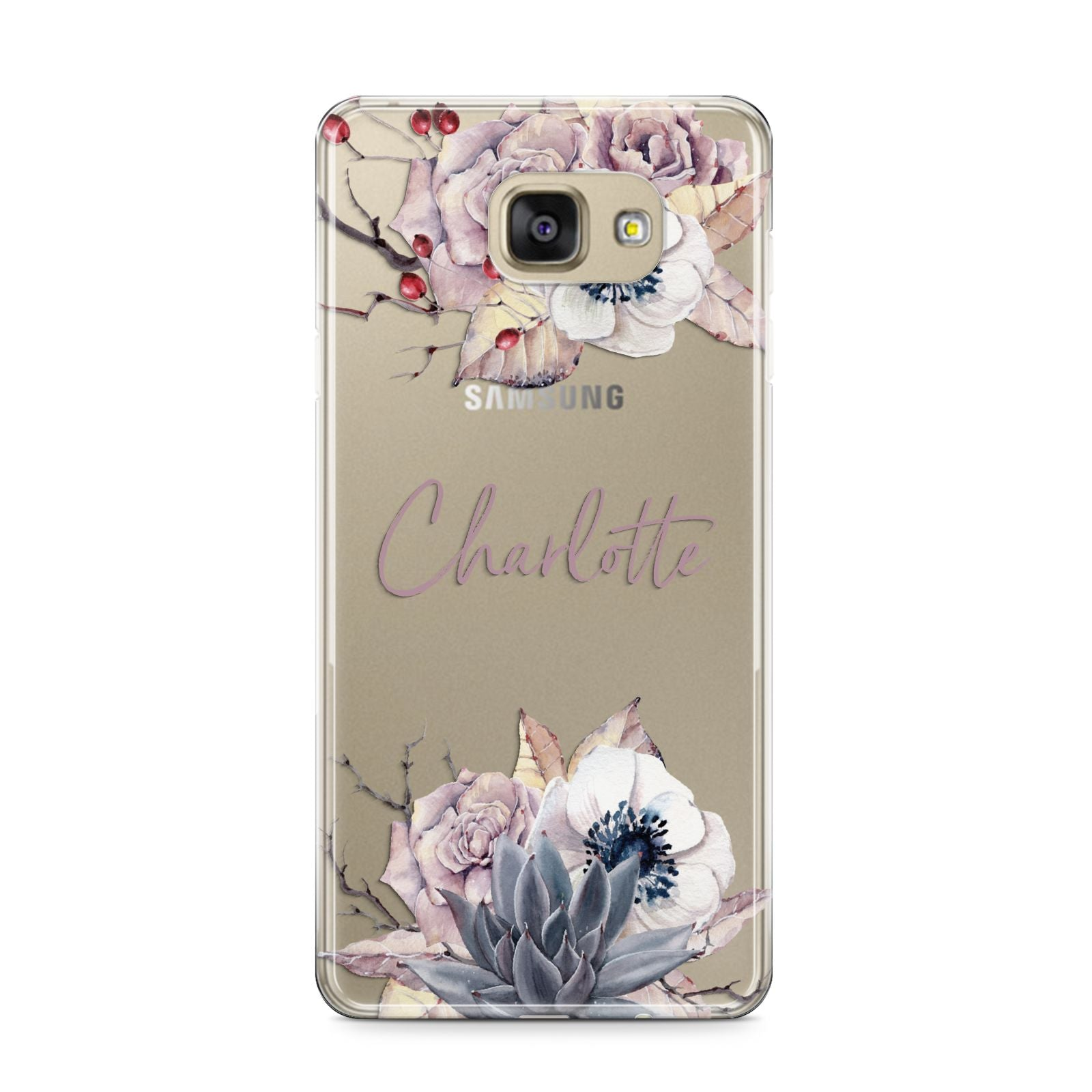 Personalised Autumn Floral Samsung Galaxy A9 2016 Case on gold phone