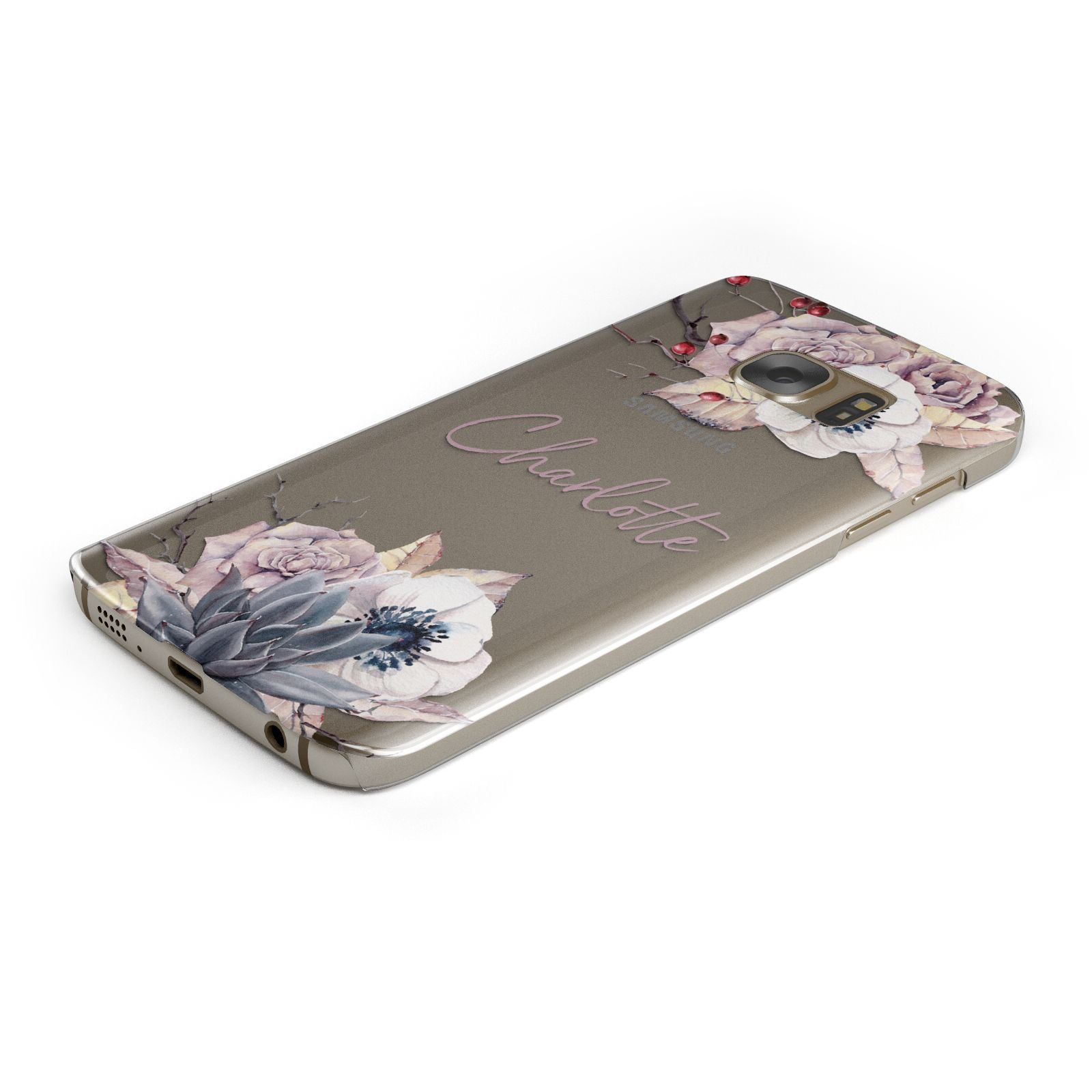 Personalised Autumn Floral Samsung Galaxy Case Bottom Cutout