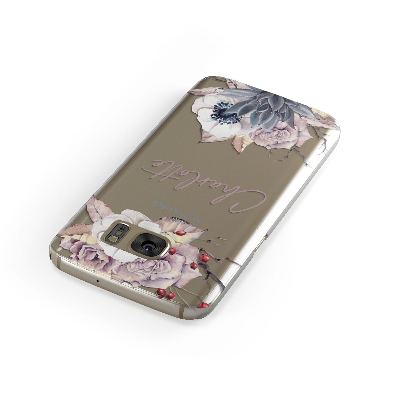 Personalised Autumn Floral Samsung Galaxy Case Front Close Up