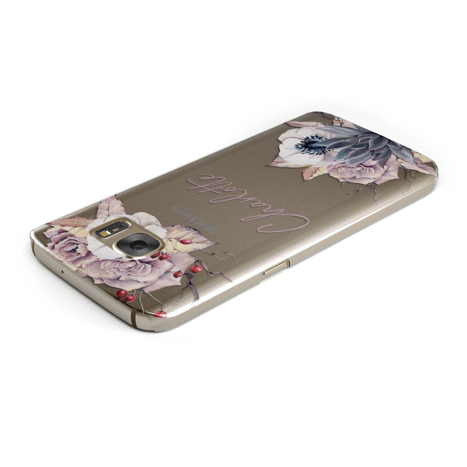 Personalised Autumn Floral Samsung Galaxy Case Top Cutout