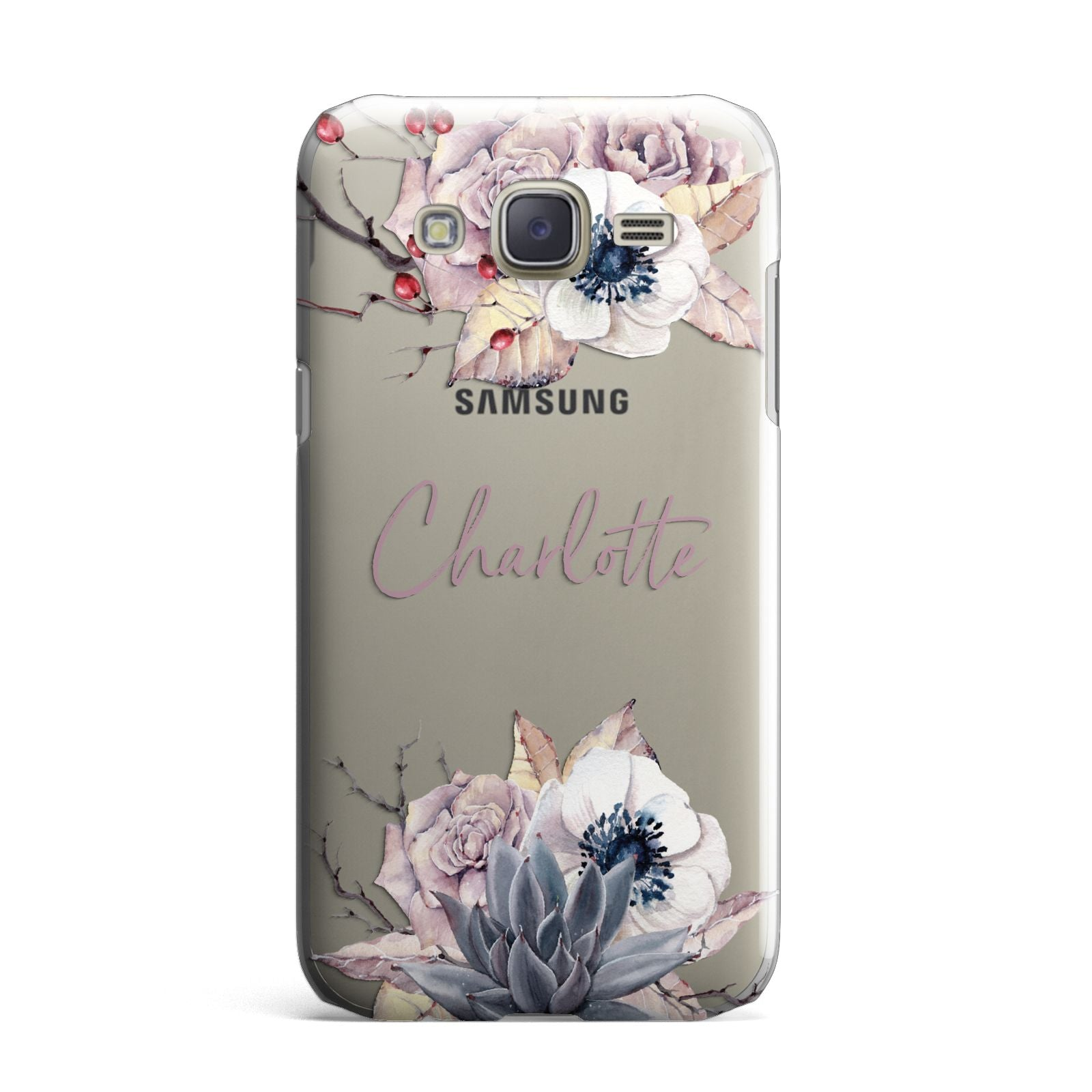 Personalised Autumn Floral Samsung Galaxy J7 Case