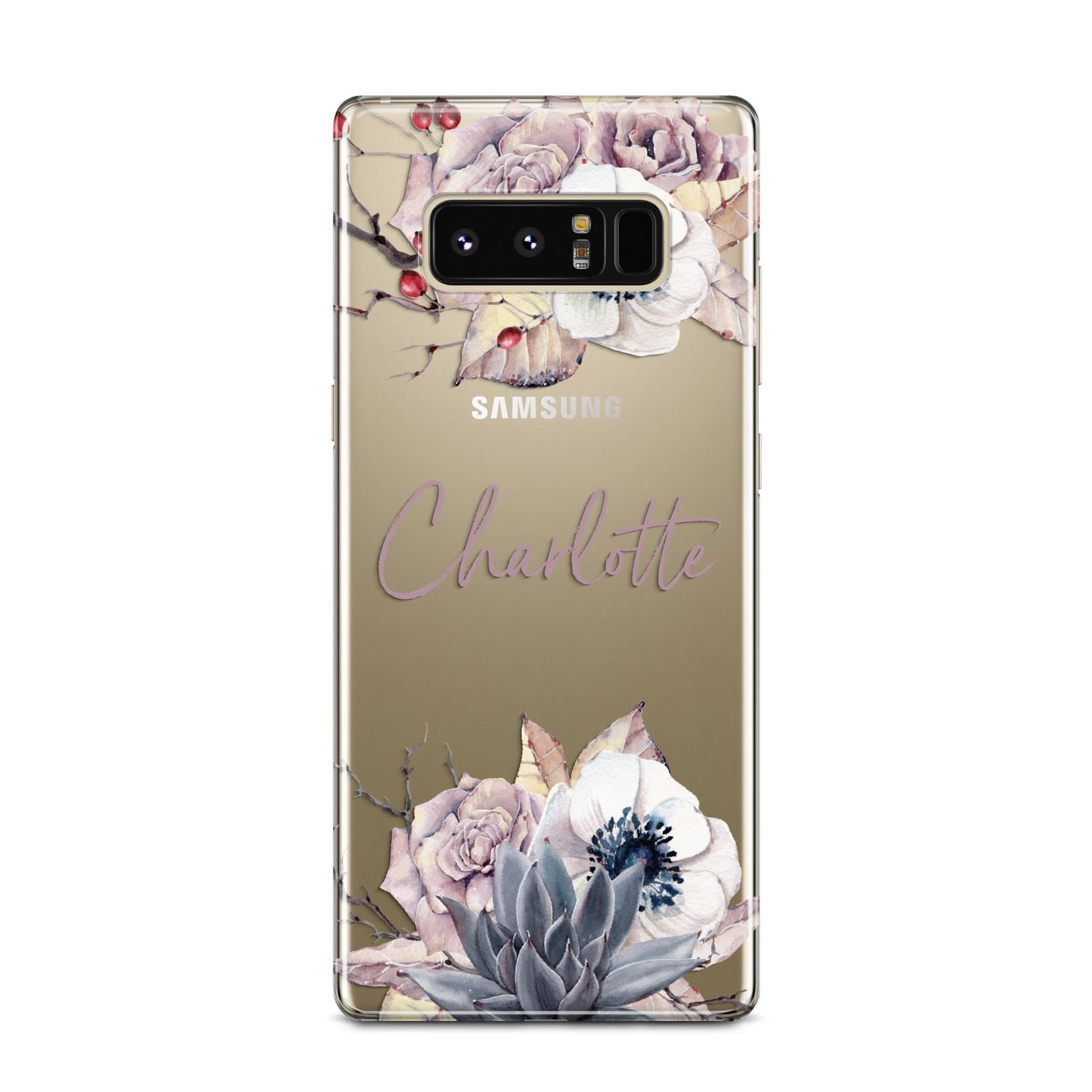 Personalised Autumn Floral Samsung Galaxy Note 8 Case