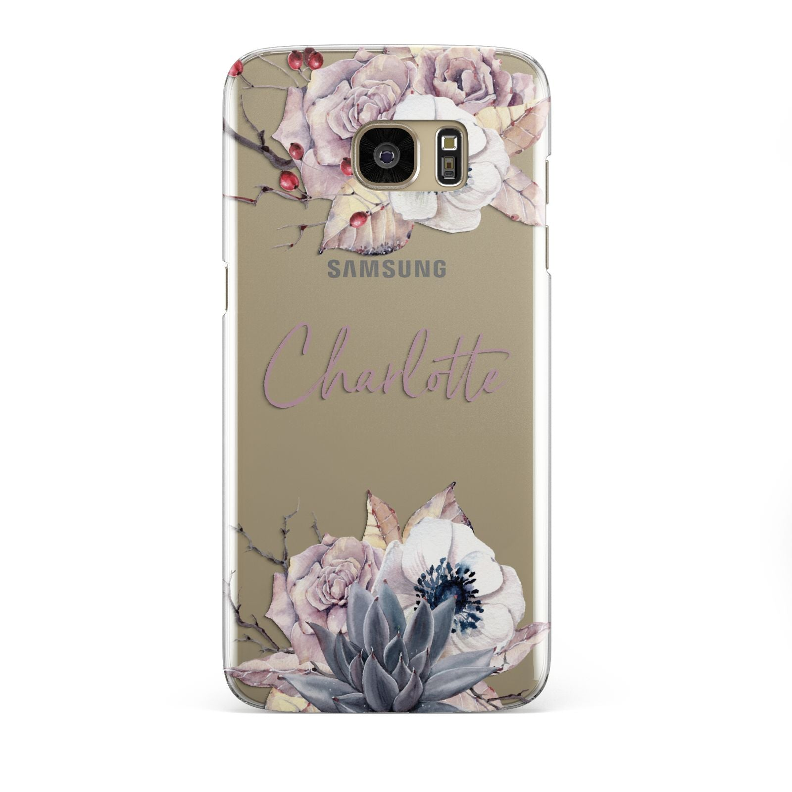 Personalised Autumn Floral Samsung Galaxy S7 Edge Case