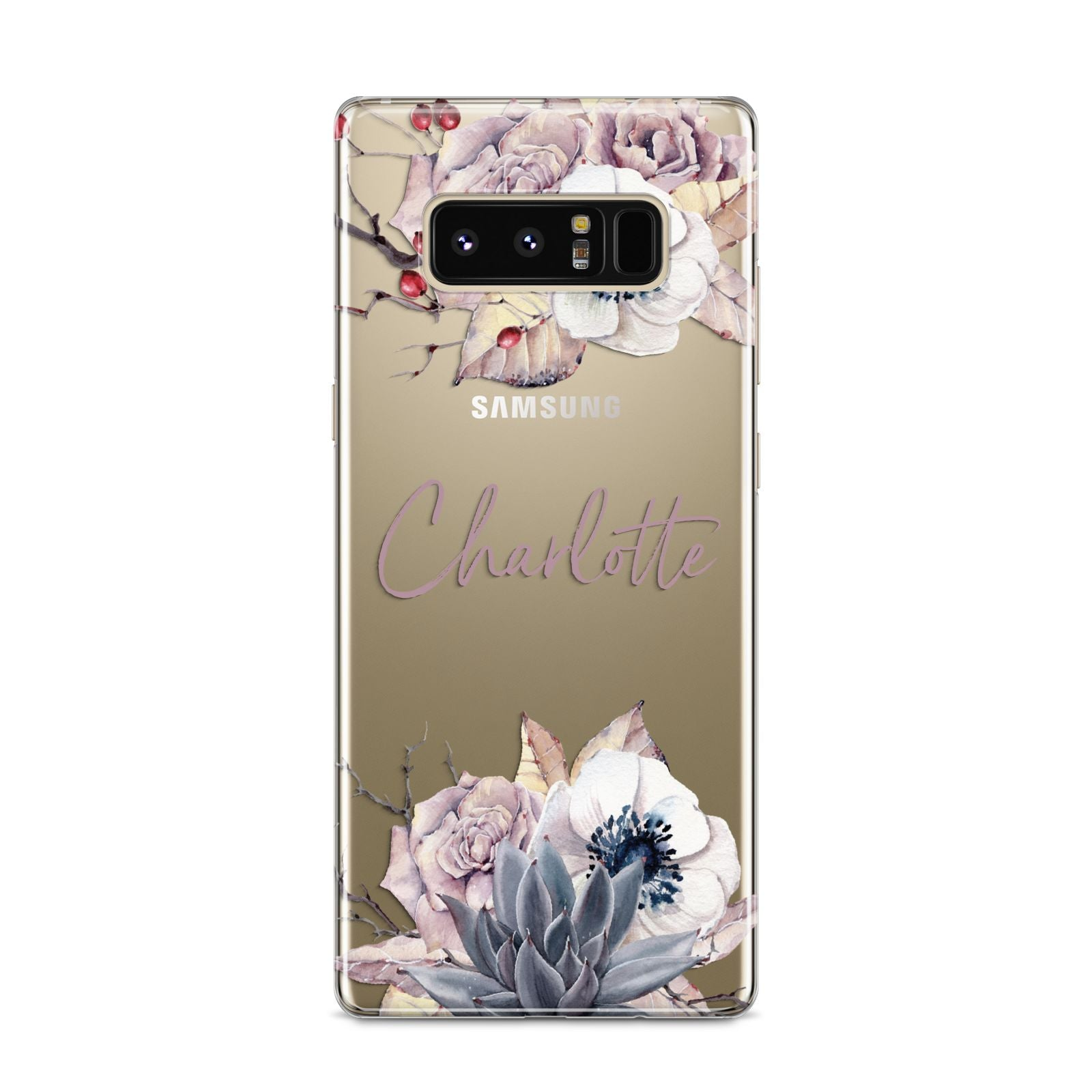 Personalised Autumn Floral Samsung Galaxy S8 Case