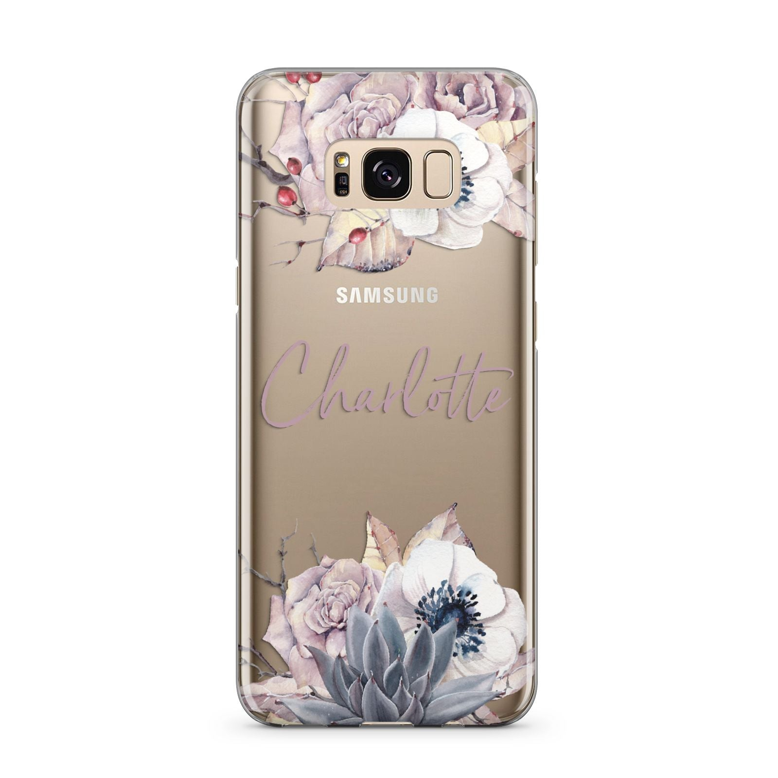 Personalised Autumn Floral Samsung Galaxy S8 Plus Case