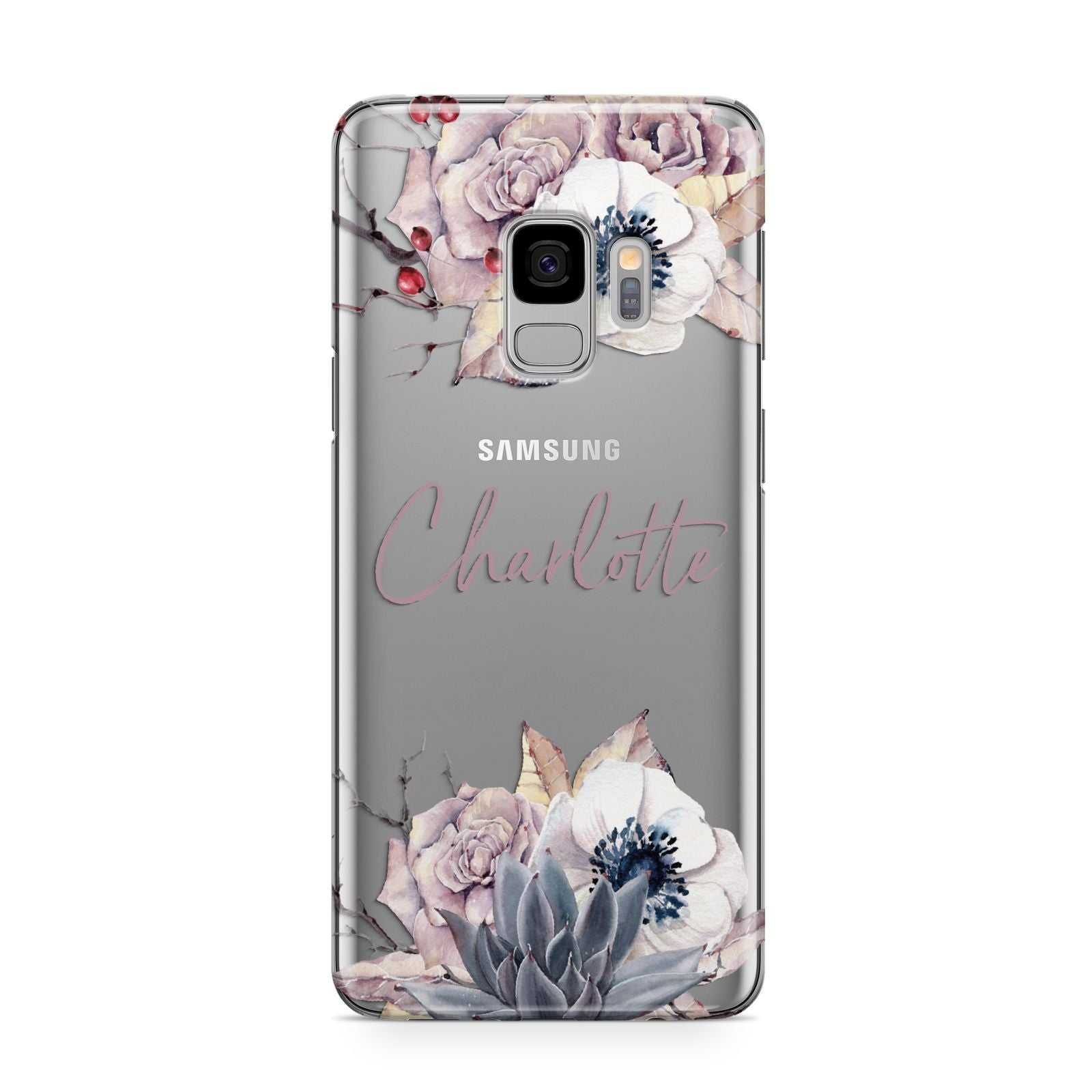 Personalised Autumn Floral Samsung Galaxy S9 Case