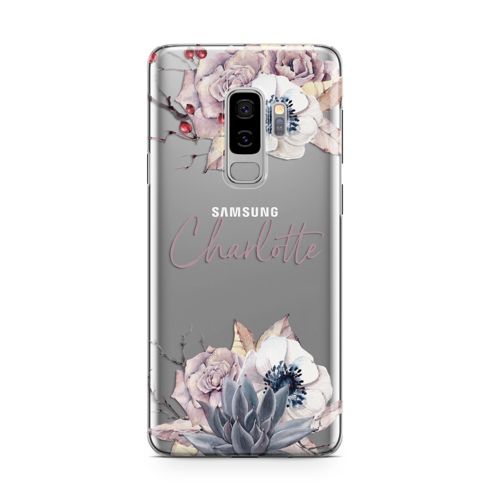 Personalised Autumn Floral Samsung Galaxy S9 Plus Case on Silver phone