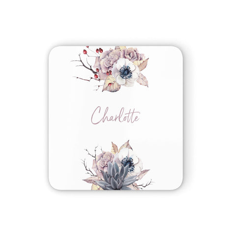 Personalised Autumn Floral Coasters set of 4