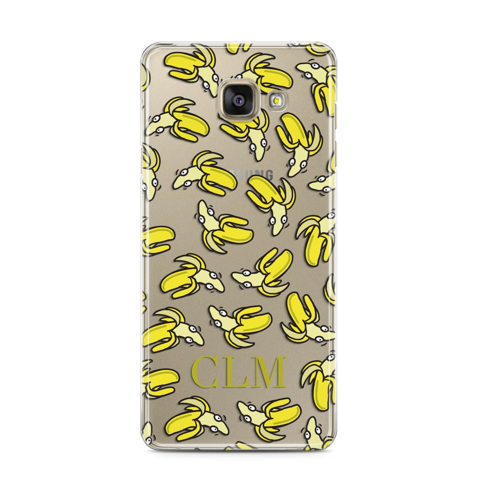 Personalised Banana Initials Clear Samsung Galaxy A3 2016 Case on gold phone