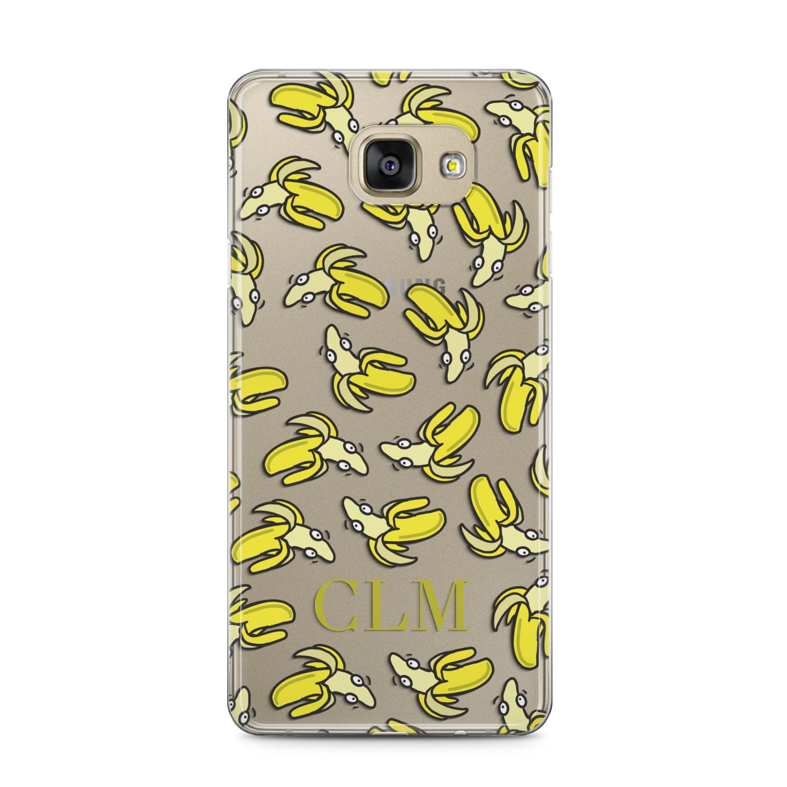 Personalised Banana Initials Clear Samsung Galaxy A5 2016 Case on gold phone