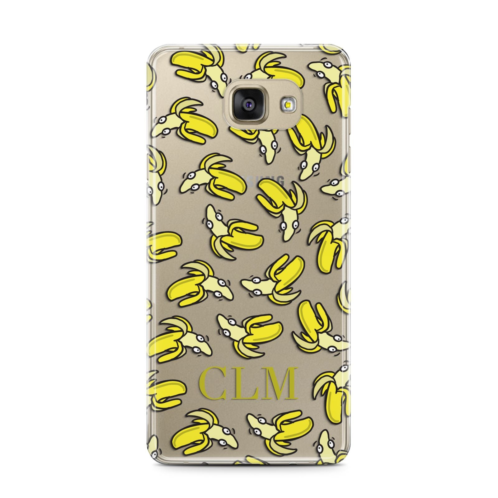 Personalised Banana Initials Clear Samsung Galaxy A7 2016 Case on gold phone