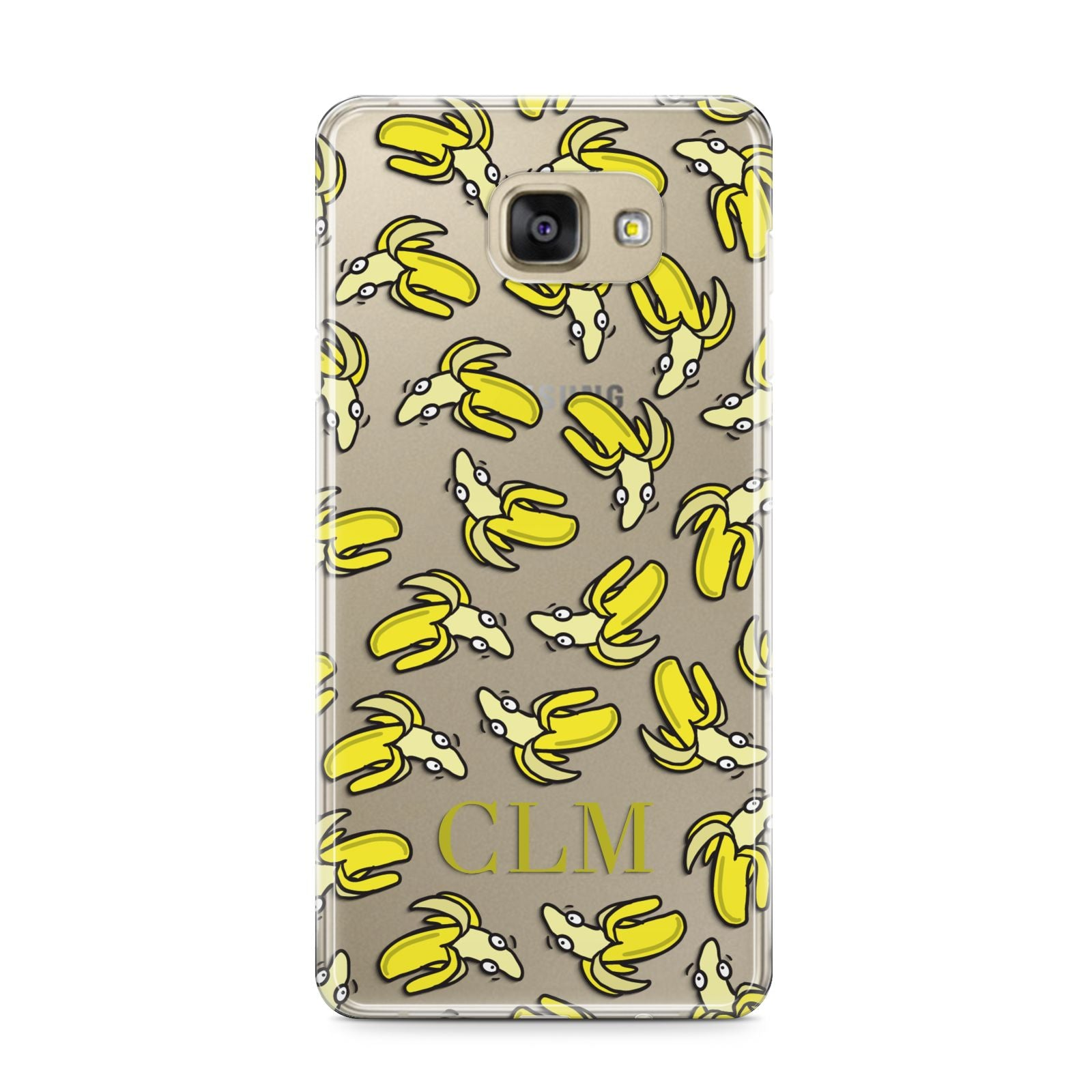 Personalised Banana Initials Clear Samsung Galaxy A9 2016 Case on gold phone