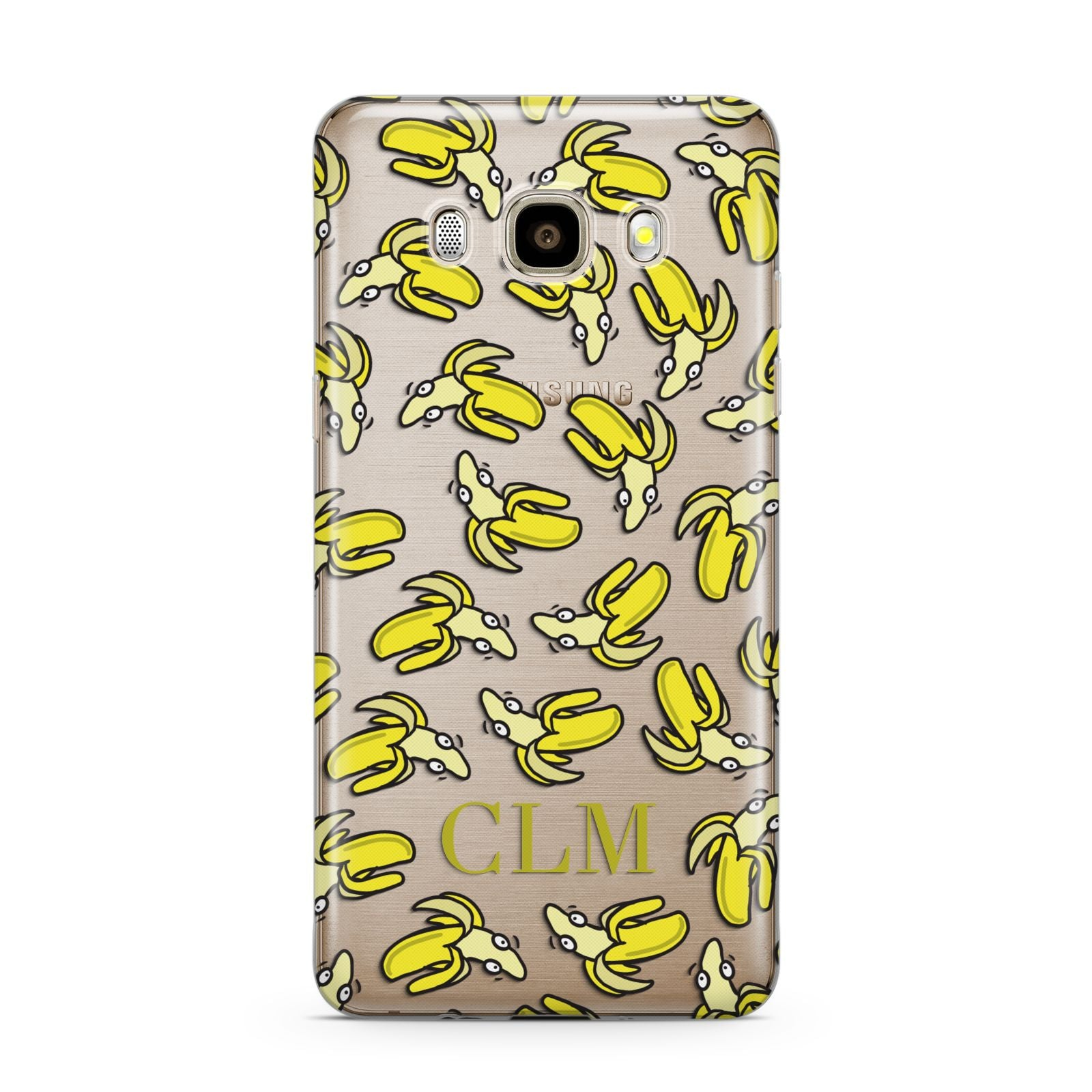 Personalised Banana Initials Clear Samsung Galaxy J7 2016 Case on gold phone