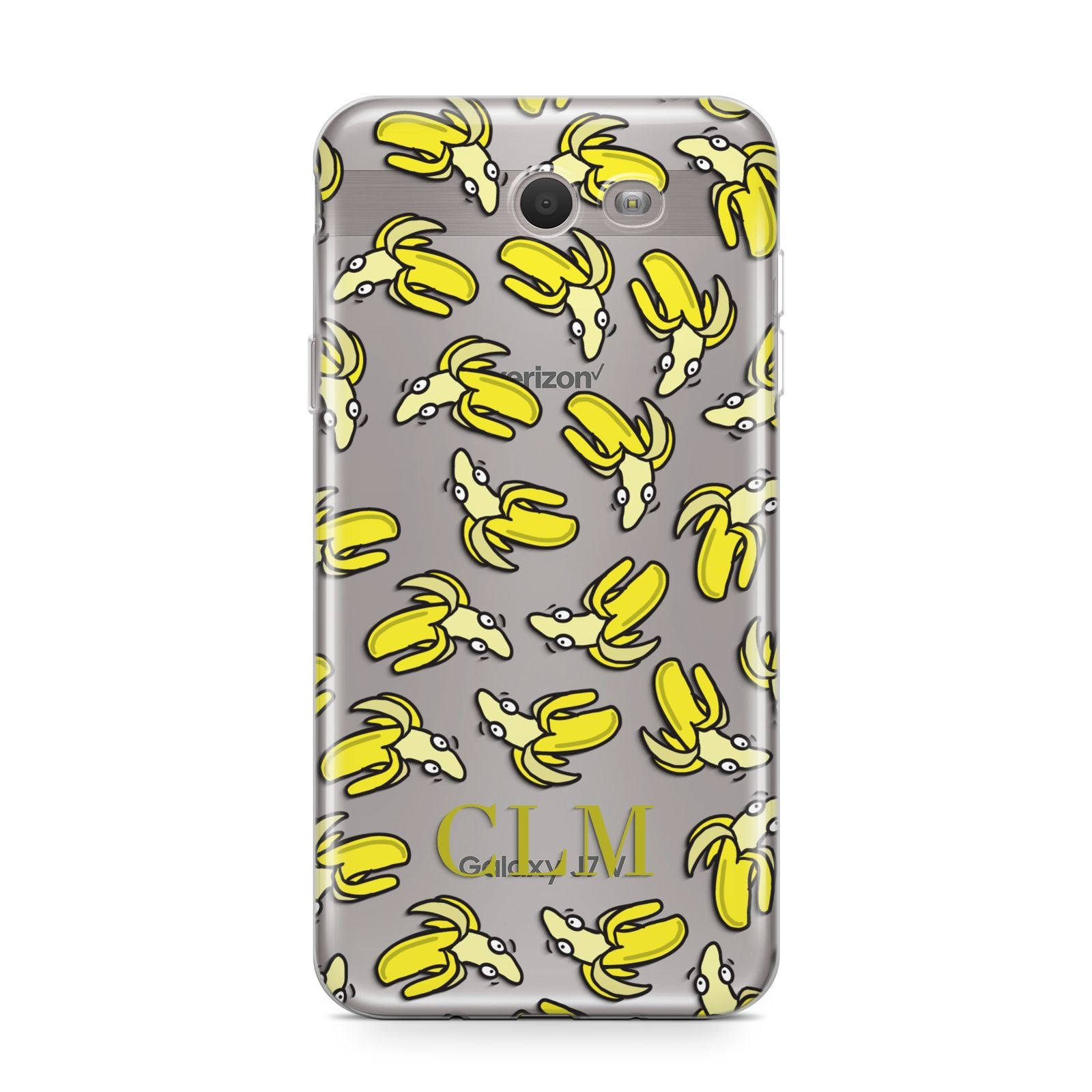 Personalised Banana Initials Clear Samsung Galaxy J7 2017 Case