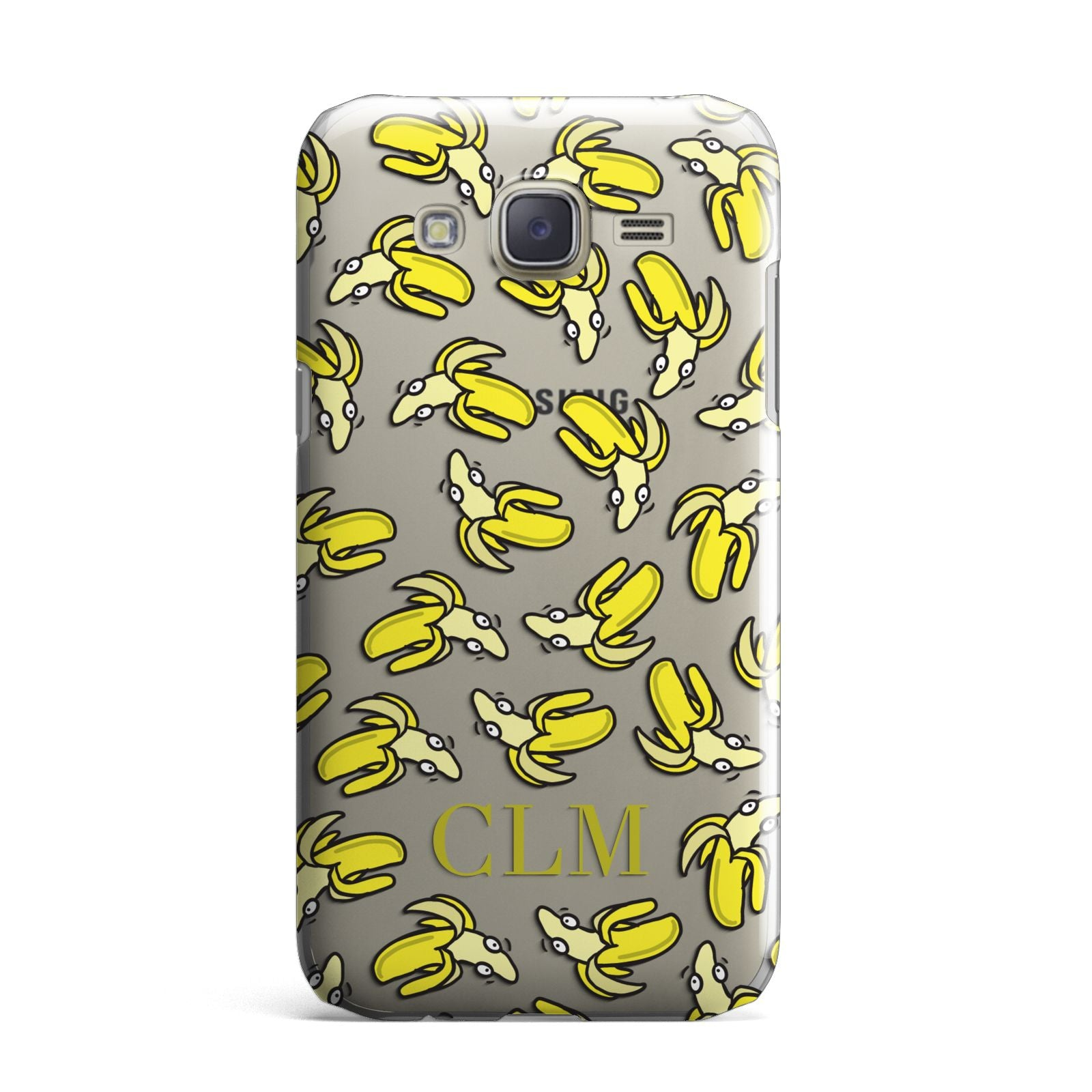 Personalised Banana Initials Clear Samsung Galaxy J7 Case