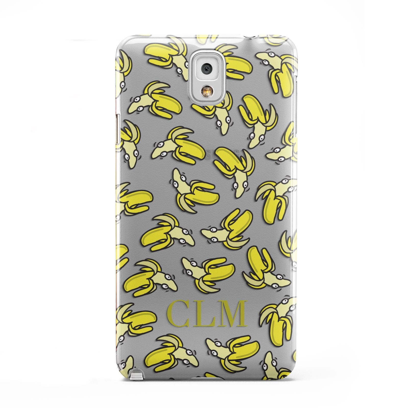 Personalised Banana Initials Clear Samsung Galaxy Note 3 Case