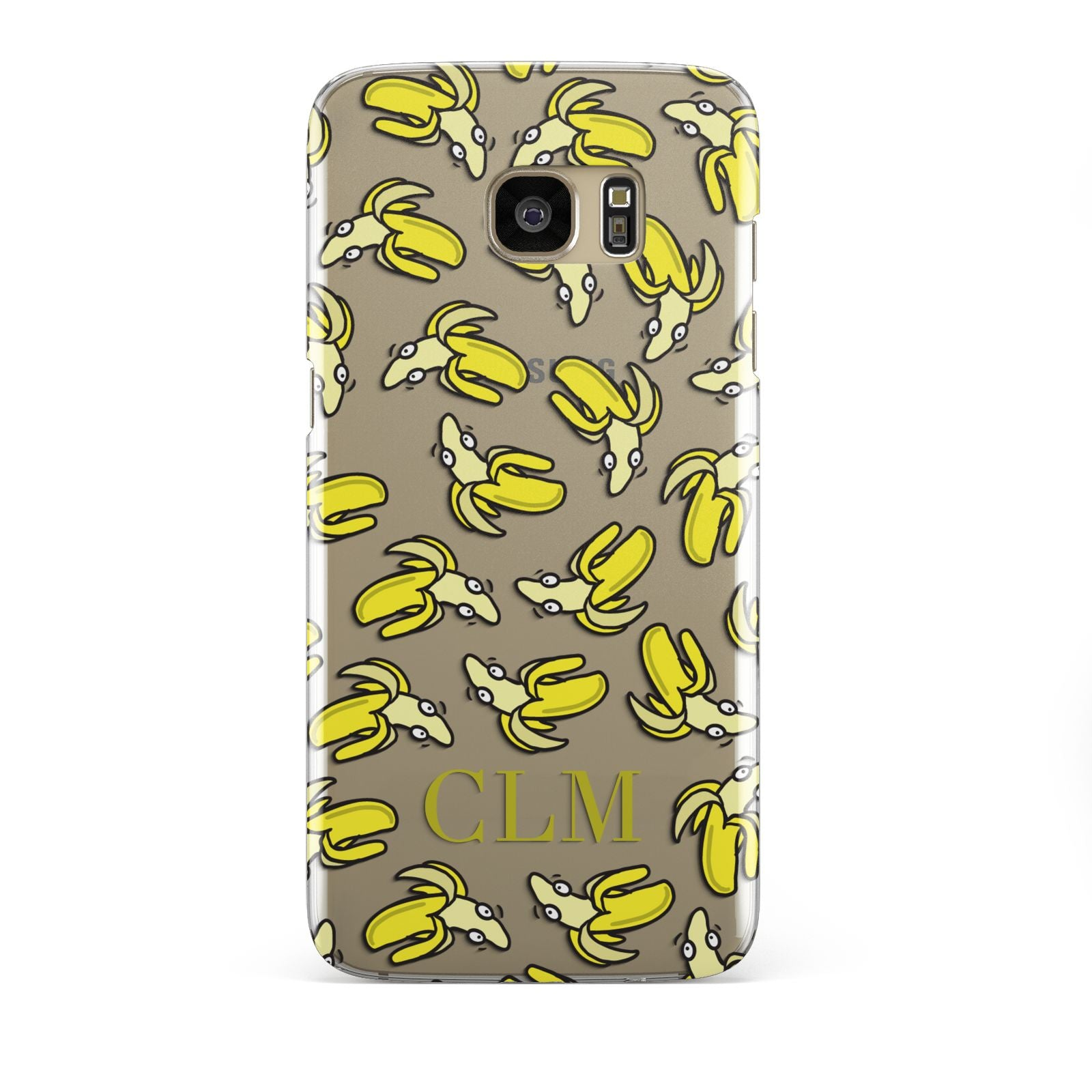 Personalised Banana Initials Clear Samsung Galaxy S7 Edge Case