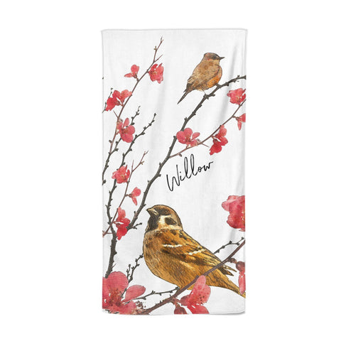 Personalised Birds Beach Towel