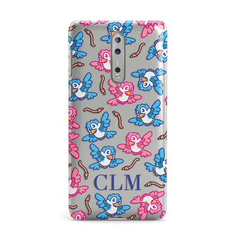 Personalised Birds Initials Clear Nokia Case