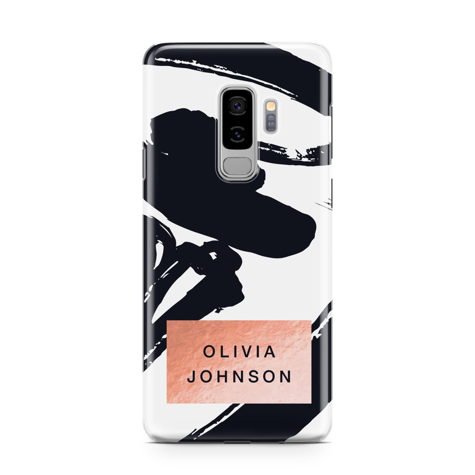 Personalised Black Brushes With Name Samsung Galaxy S9 Plus Case on Silver phone