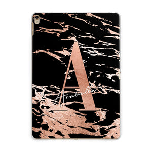 Personalised Black Copper Marble Apple iPad Gold Case