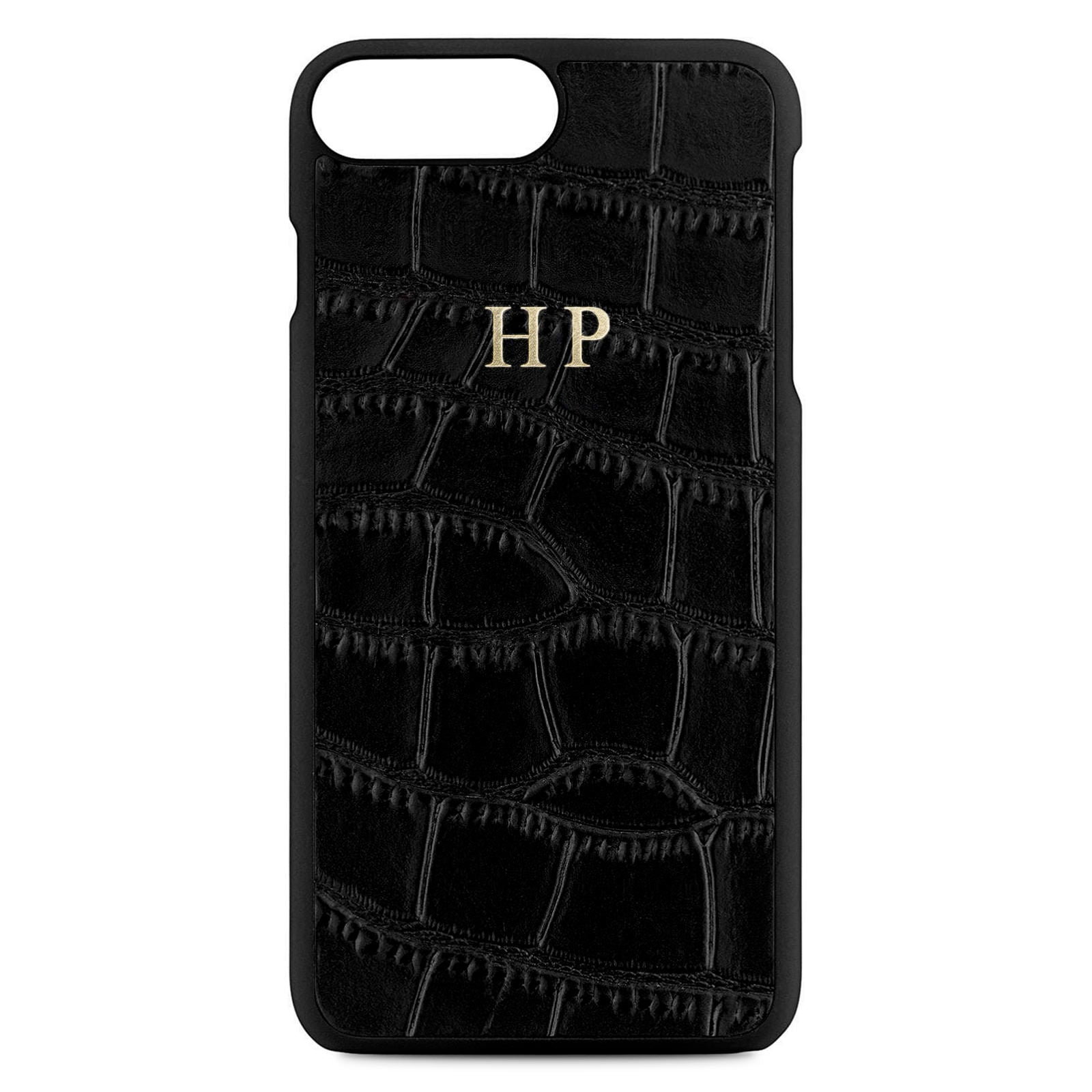 Personalised Black Croc Leather iPhone 8 Plus Case